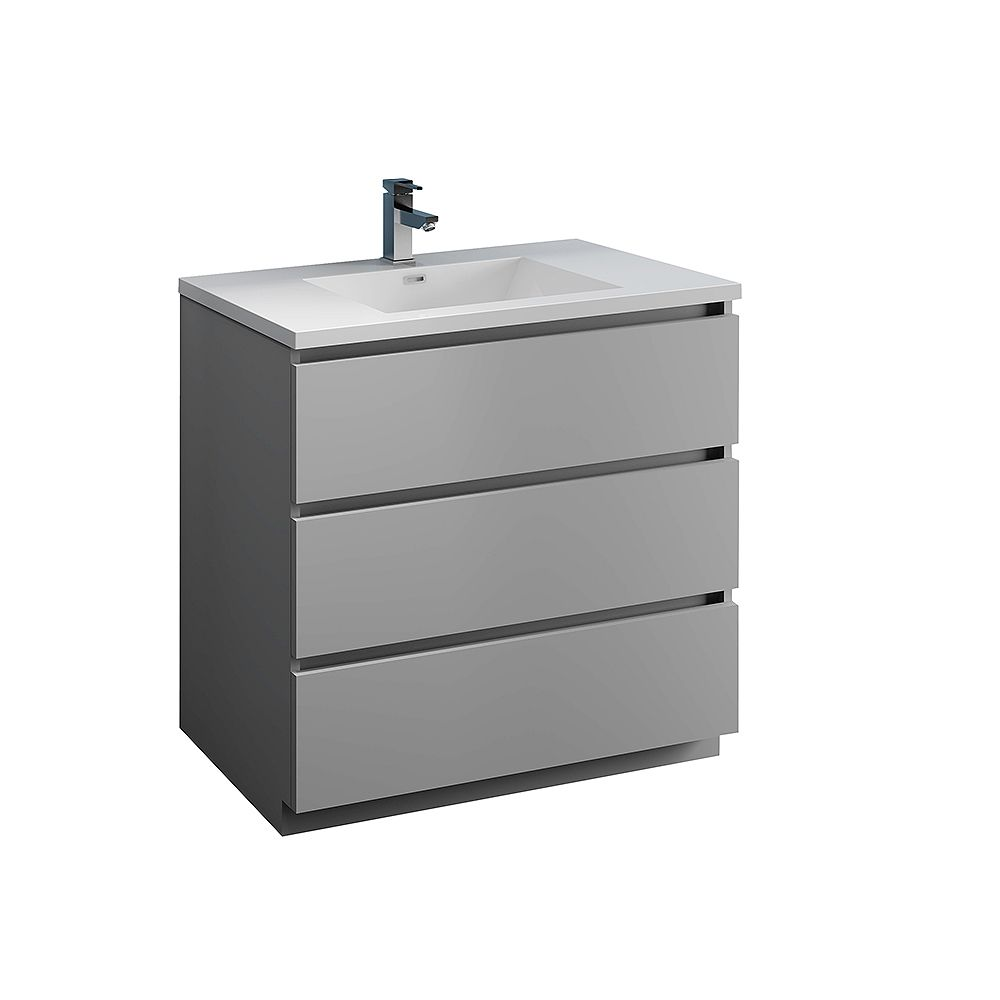 Fresca Lazzaro 36 inch Free Standing Modern Bathroom Vanity in Gray with Acrylic Sink in White