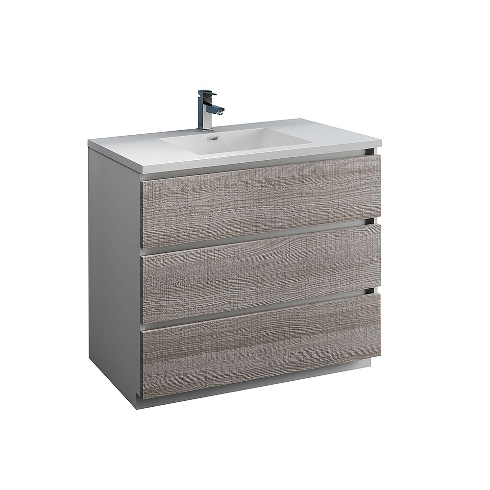 Fresca Lazzaro 40 inch Free Standing Modern Bathroom Vanity in Glossy Ash Gray with Acrylic Sink in White
