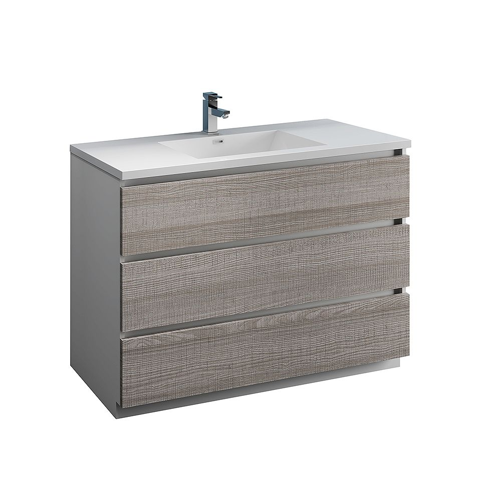 Fresca Lazzaro 48 inch Free Standing Modern Bathroom Vanity in Glossy Ash Gray with Acrylic Sink in White
