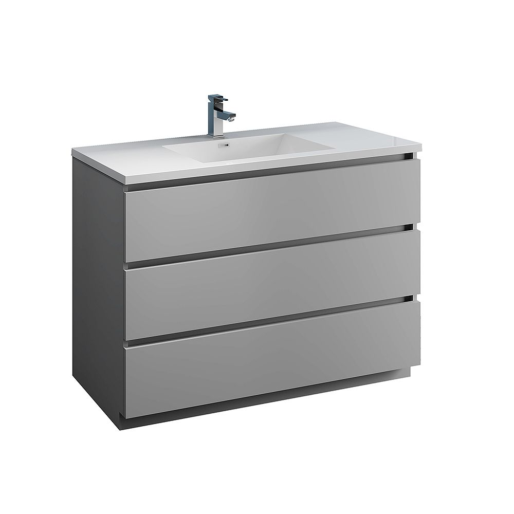 Fresca Lazzaro 48 inch Free Standing Modern Bathroom Vanity in Gray with Acrylic Sink in White