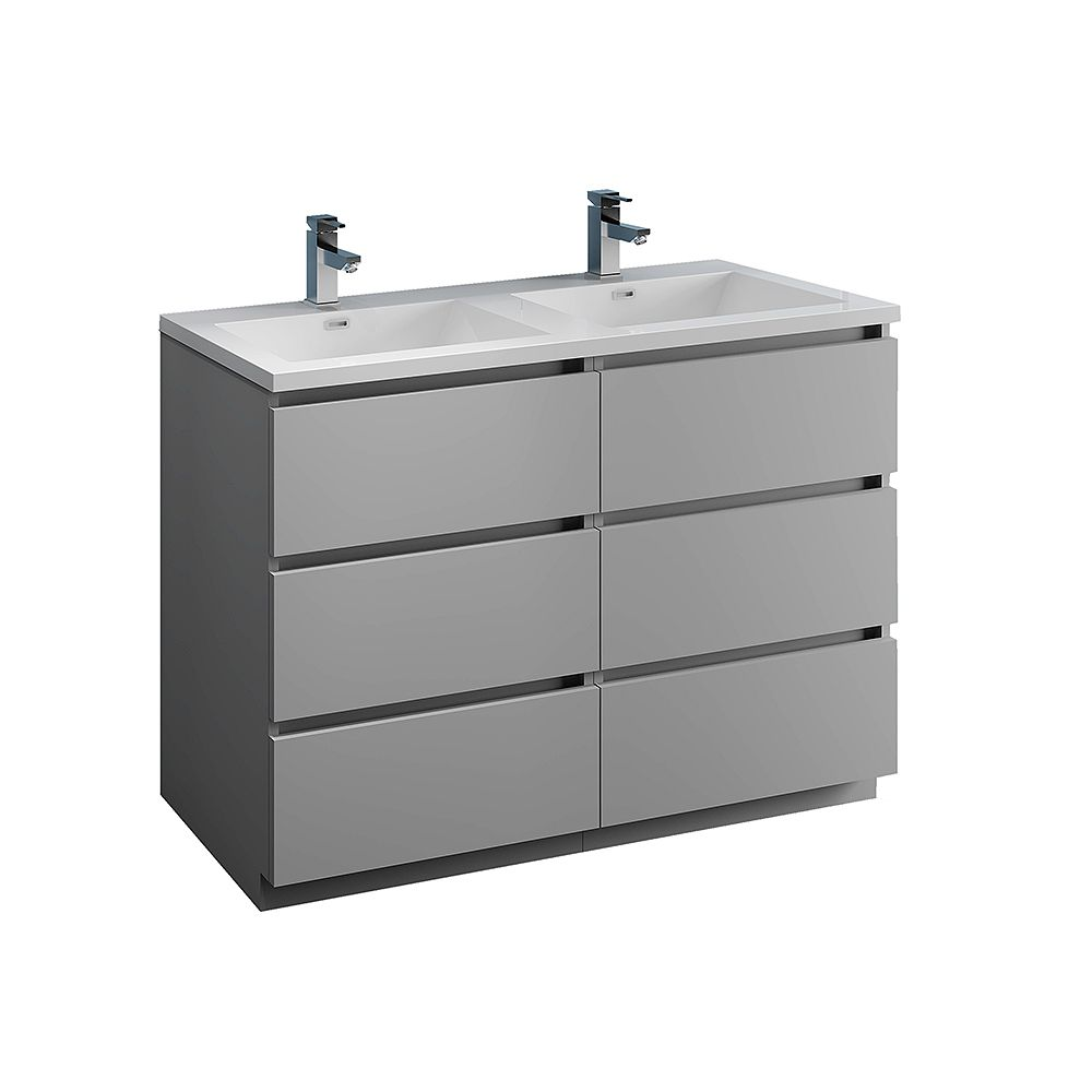 Fresca Lazzaro 48 inch Free Standing Modern Double Vanity in Gray with Acrylic Sink in White