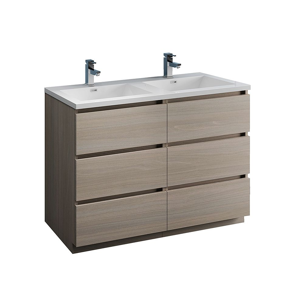 Fresca Lazzaro 48 inch Free Standing Modern Double Vanity in Gray Wood with Acrylic Sink in White