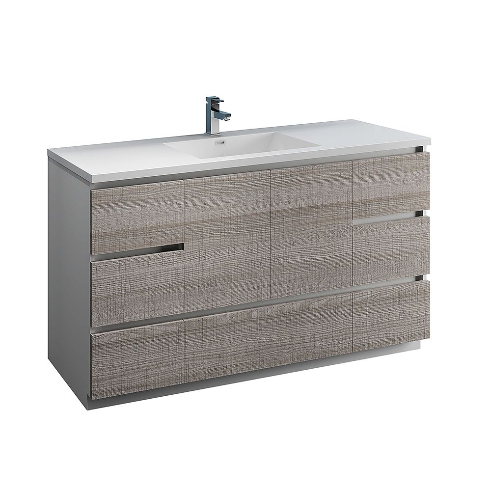 Fresca Lazzaro 60 inch Free Standing Modern Bathroom Vanity in Glossy Ash Gray with Acrylic Sink in White