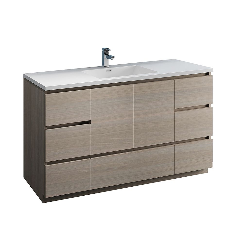 Fresca Lazzaro 60 inch Free Standing Modern Bathroom Vanity in Gray Wood with Acrylic Sink in White