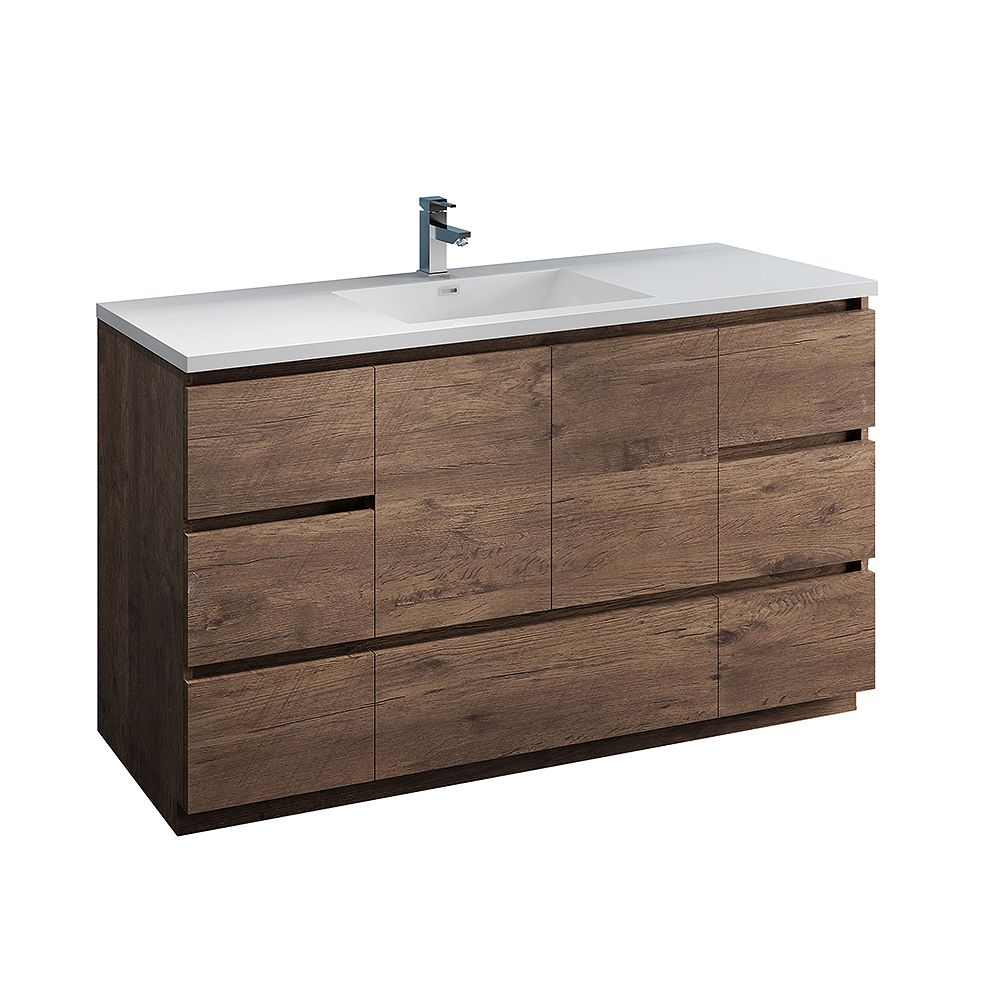 Fresca Lazzaro 60 inch Free Standing Modern Bathroom Vanity in Rosewood with Acrylic Sink in White