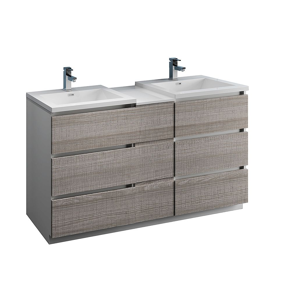 Fresca Lazzaro 60 inch Free Standing Modern Double Vanity in Glossy Ash Gray with Top in White