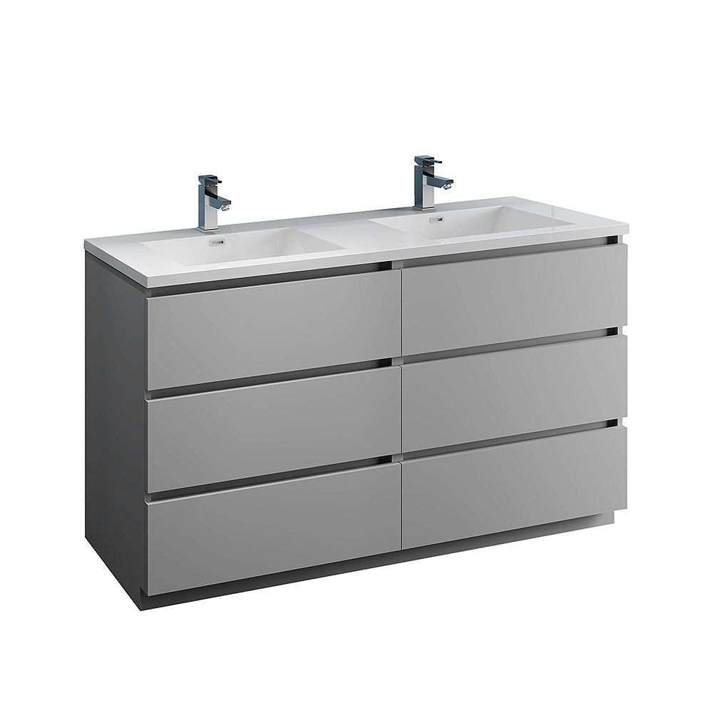 Fresca Lazzaro 60 inch Free Standing Modern Double Vanity in Gray with Acrylic Sink in White