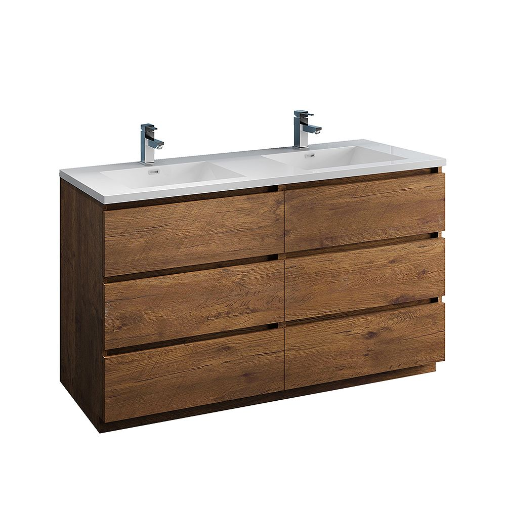 Fresca Lazzaro 60 inch Free Standing Modern Double Vanity in Rosewood with Acrylic Sink in White