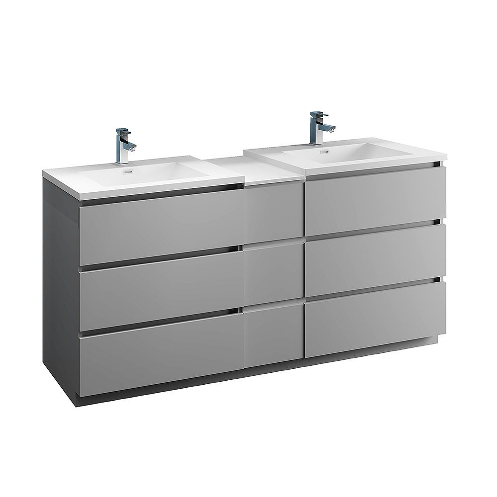 Fresca Lazzaro 72 inch Free Standing Modern Double Vanity in Gray with Top in White