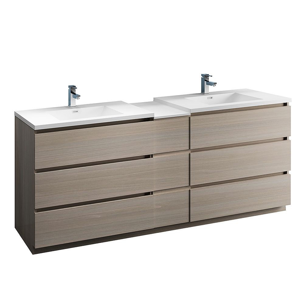 Fresca Lazzaro 84 inch Free Standing Modern Double Vanity in Gray Wood with Top in White
