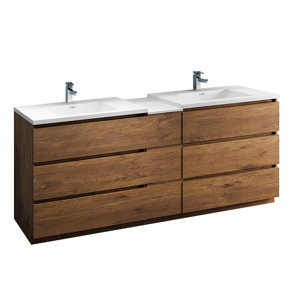 Fresca Lazzaro 84 inch Free Standing Modern Double Vanity in Rosewood with Top in White