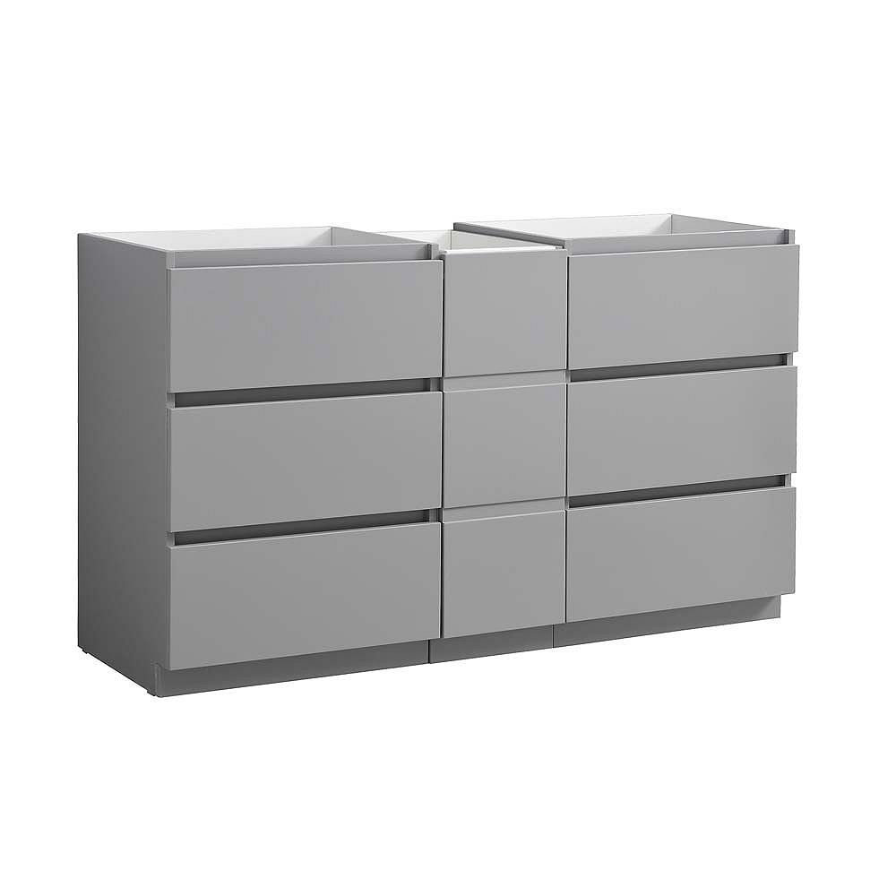 Fresca Lazzaro 59 inch Free Standing Modern Double Bathroom Vanity in Gray with Middle Cabinet