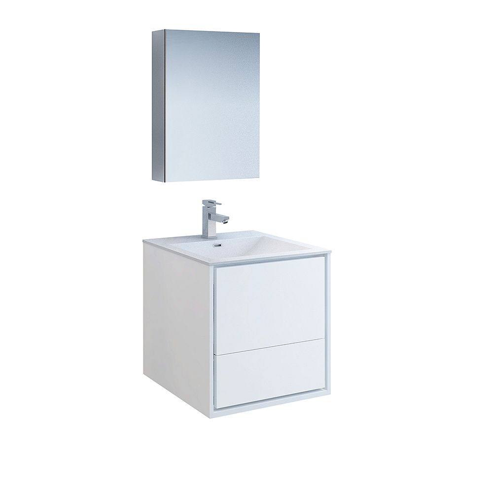 Fresca Catania 24 inch Glossy White Wall Hung Modern Bathroom Vanity with Acrylic Top and Medicine Cabinet