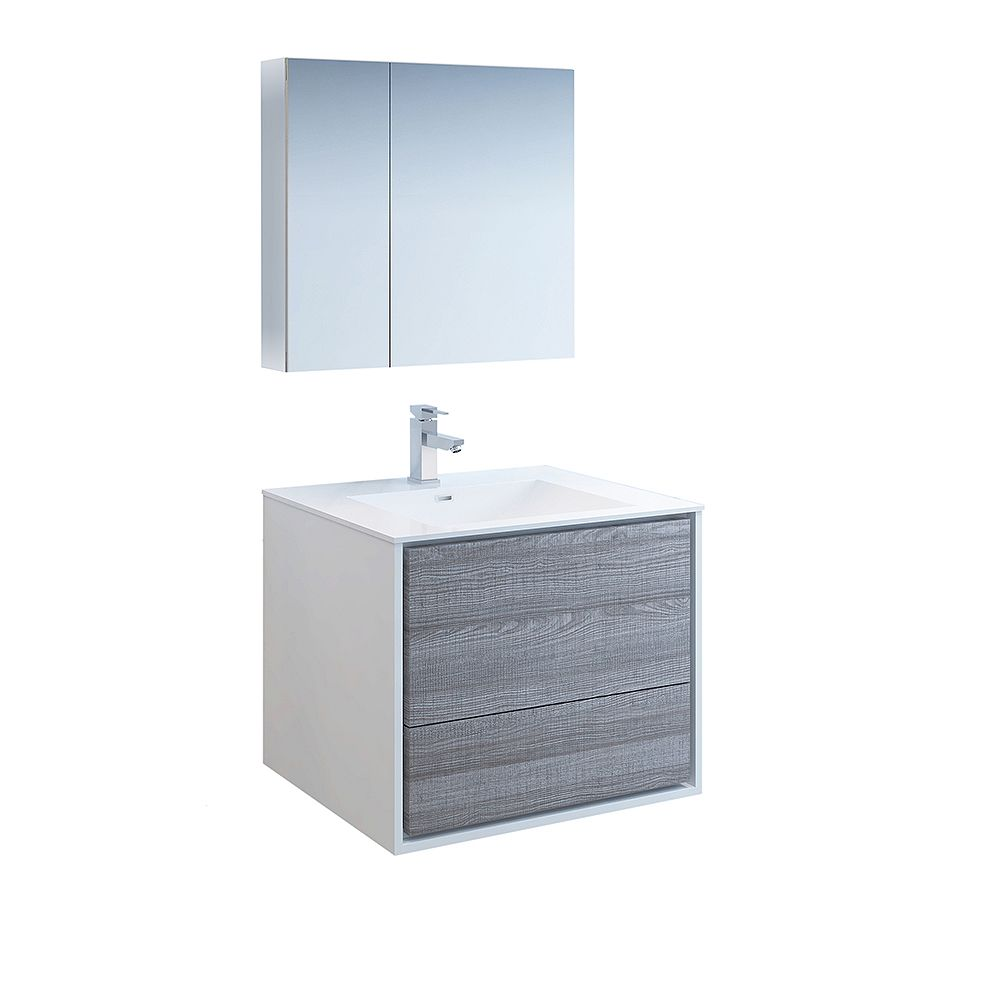 Fresca Catania 30 inch Glossy Ash Gray Wall Hung Modern Bathroom Vanity with Acrylic Top, Medicine Cabinet