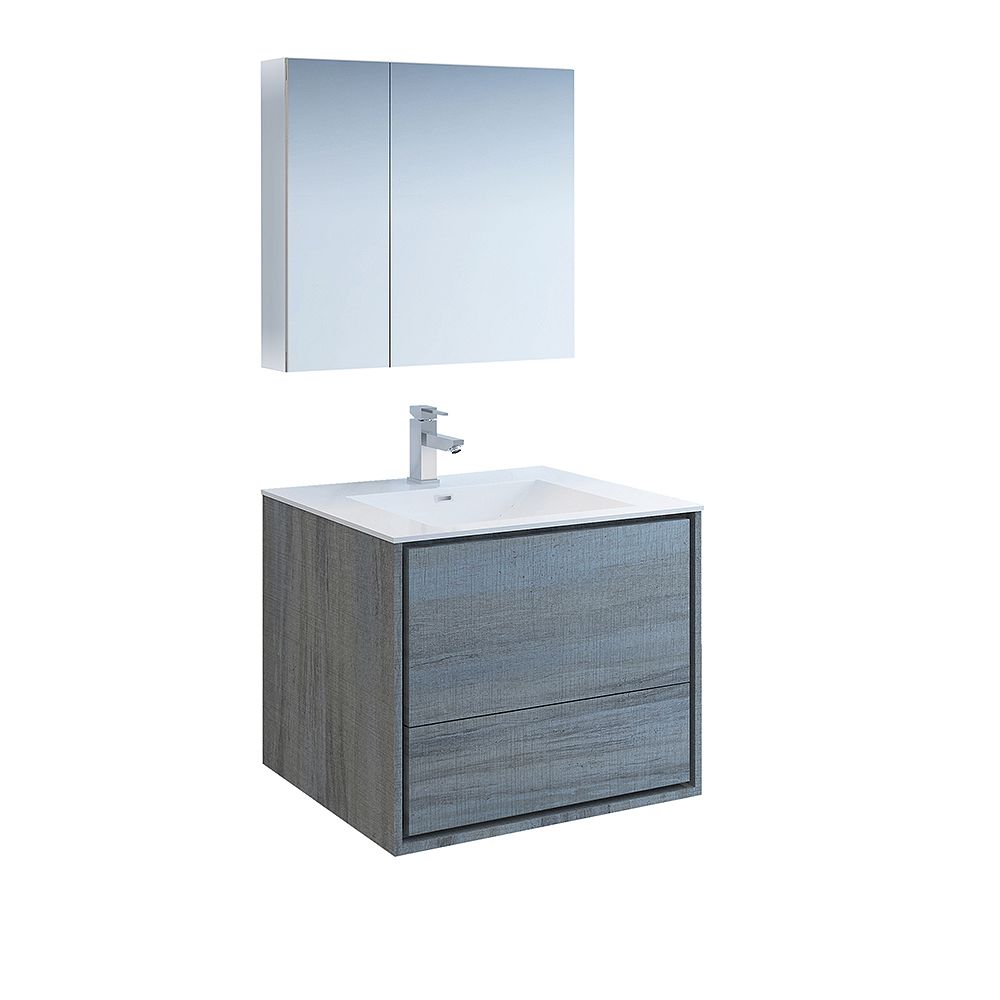 Fresca Catania 30 inch Ocean Gray Wall Hung Modern Bathroom Vanity with Acrylic Top and Medicine Cabinet