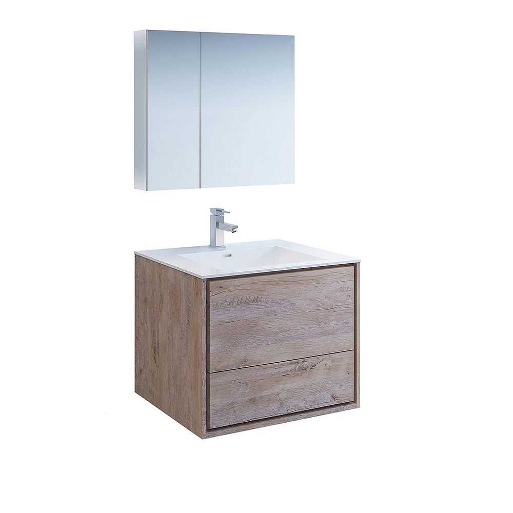 Fresca Catania 30 inch Rustic Natural Wood Wall Hung Bathroom Vanity with Acrylic Top and Medicine Cabinet