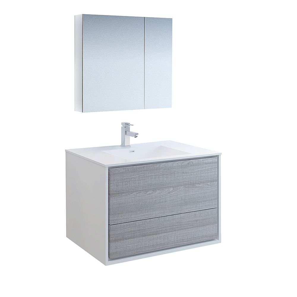 Fresca Catania 36 inch Glossy Ash Gray Wall Hung Modern Bathroom Vanity with Acrylic Top, Medicine Cabinet