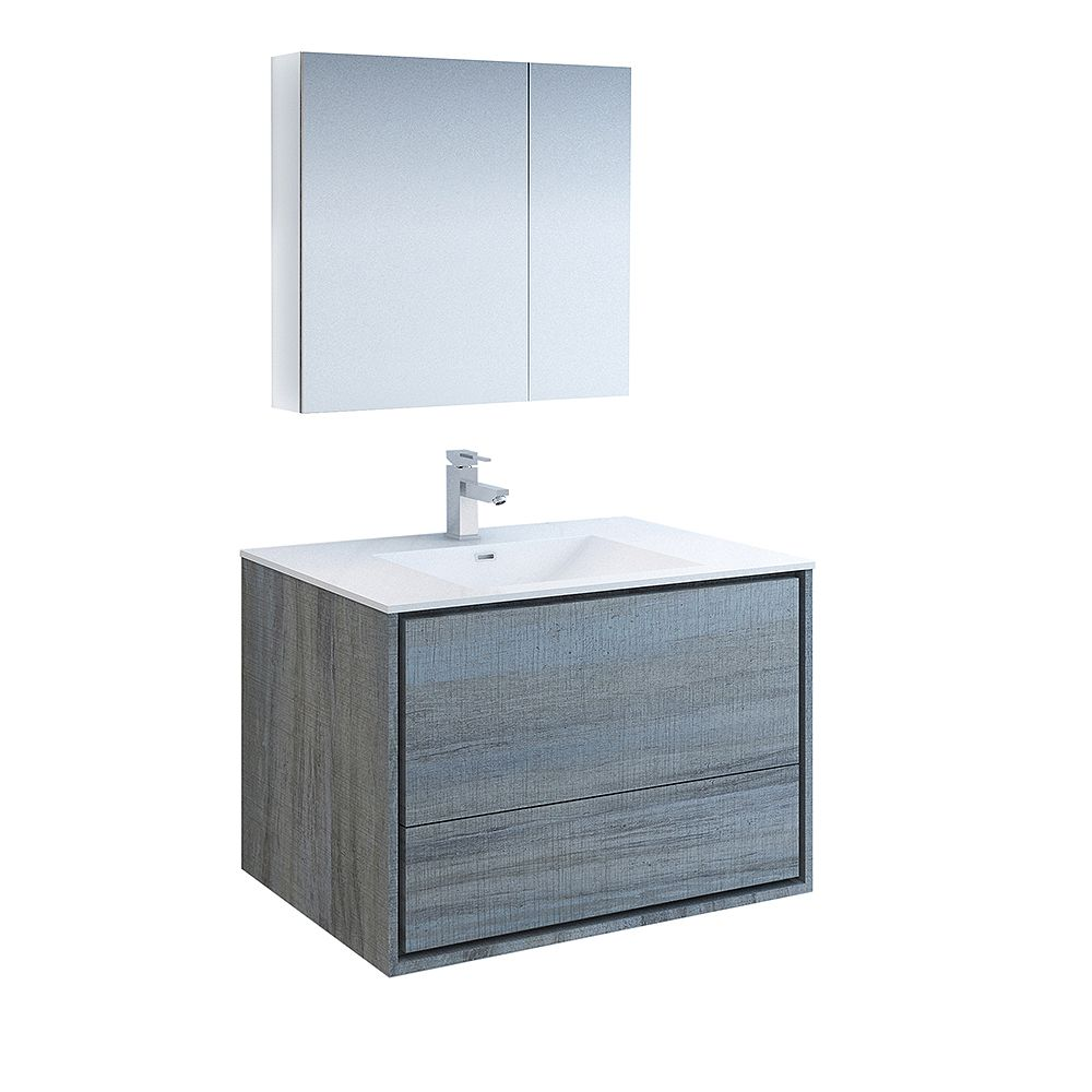 Fresca Catania 36 inch Ocean Gray Wall Hung Modern Bathroom Vanity with Acrylic Top and Medicine Cabinet