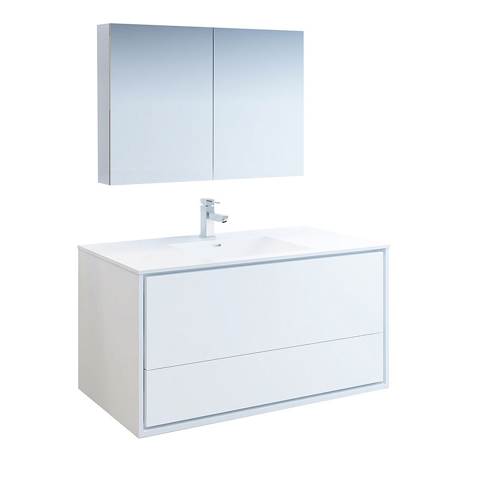 Fresca Catania 48 inch Glossy White Wall Hung Modern Bathroom Vanity with Acrylic Top and Medicine Cabinet