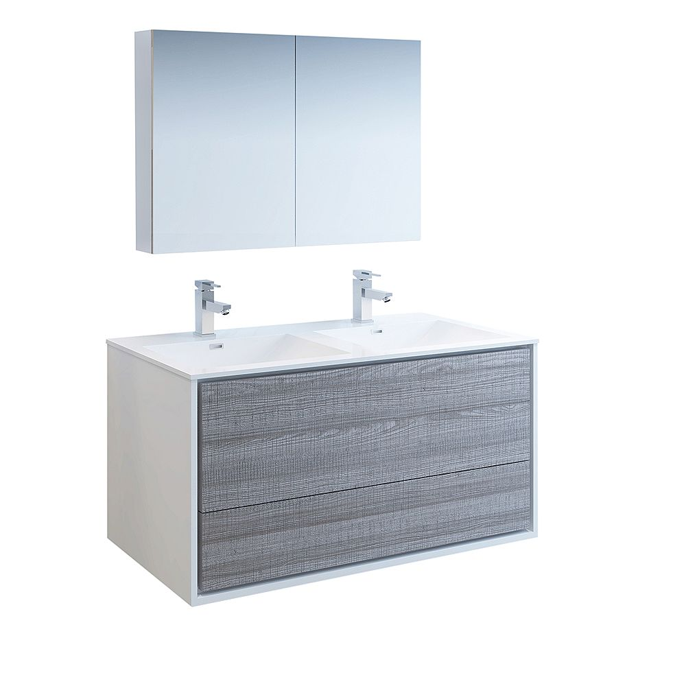 Fresca Catania 48 inch Glossy Ash Gray Wall Hung Double Sink Bath Vanity with Acrylic Top, Medicine Cabinet