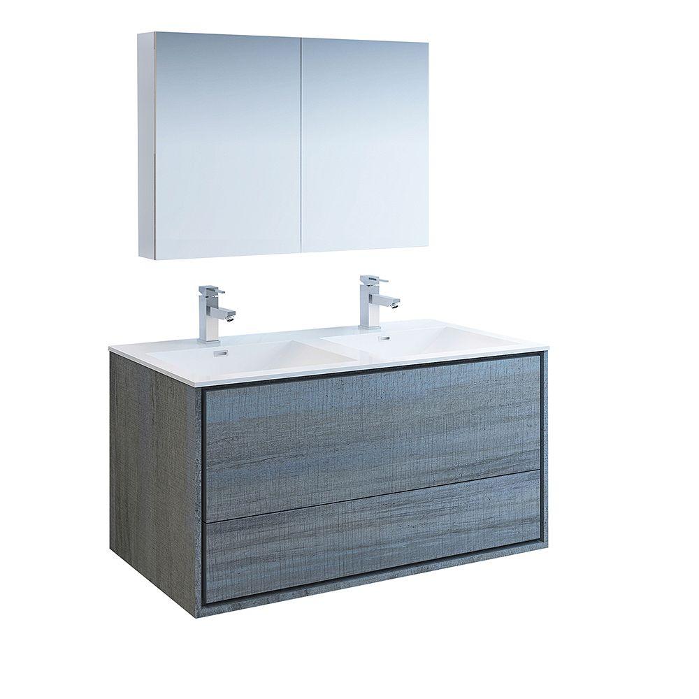 Fresca Catania 48 inch Ocean Gray Wall Hung Double Sink Bathroom Vanity with Acrylic Top, Medicine Cabinet