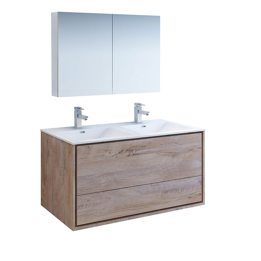 Fresca Catania 48 inch Rustic Natural Wood Wall Hung Double Sink Vanity with Acrylic Top, Medicine Cabinet