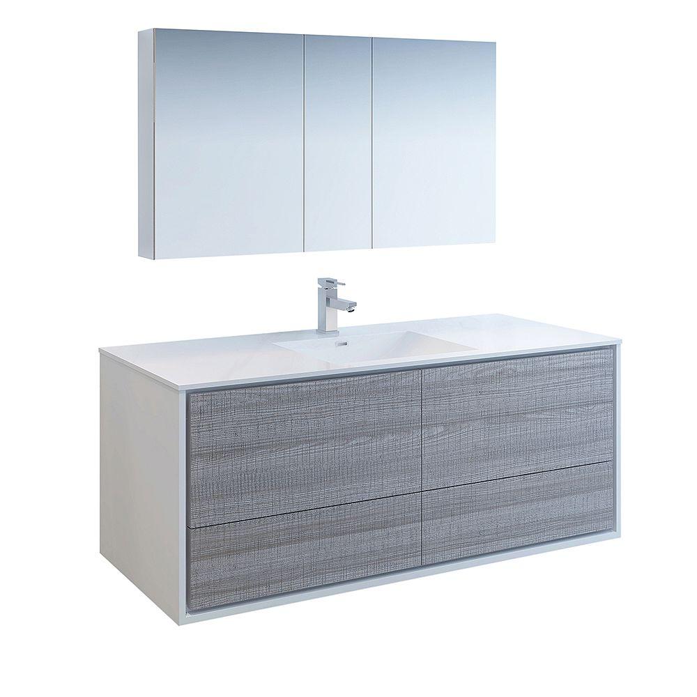 Fresca Catania 60 inch Glossy Ash Gray Wall Hung Modern Bathroom Vanity with Acrylic Top, Medicine Cabinet