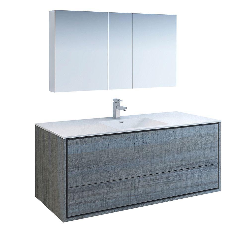 Fresca Catania 60 inch Ocean Gray Wall Hung Modern Bathroom Vanity with Acrylic Top and Medicine Cabinet