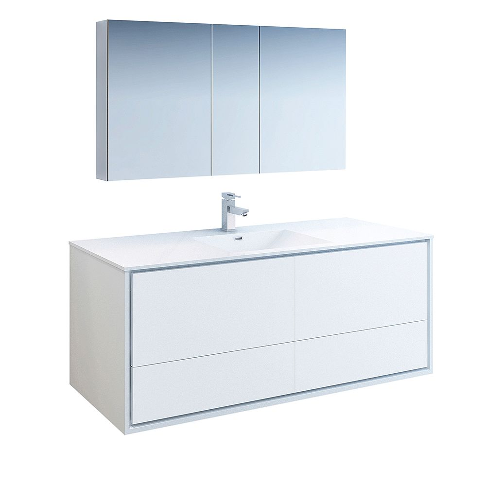 Fresca Catania 60 inch Glossy White Wall Hung Modern Bathroom Vanity with Acrylic Top and Medicine Cabinet