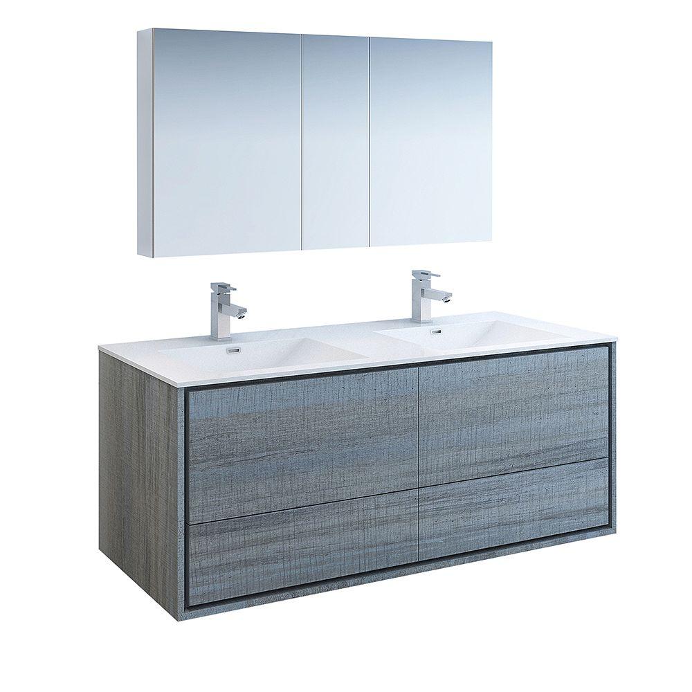 Fresca Catania 60 inch Ocean Gray Wall Hung Double Sink Bathroom Vanity with Acrylic Top, Medicine Cabinet