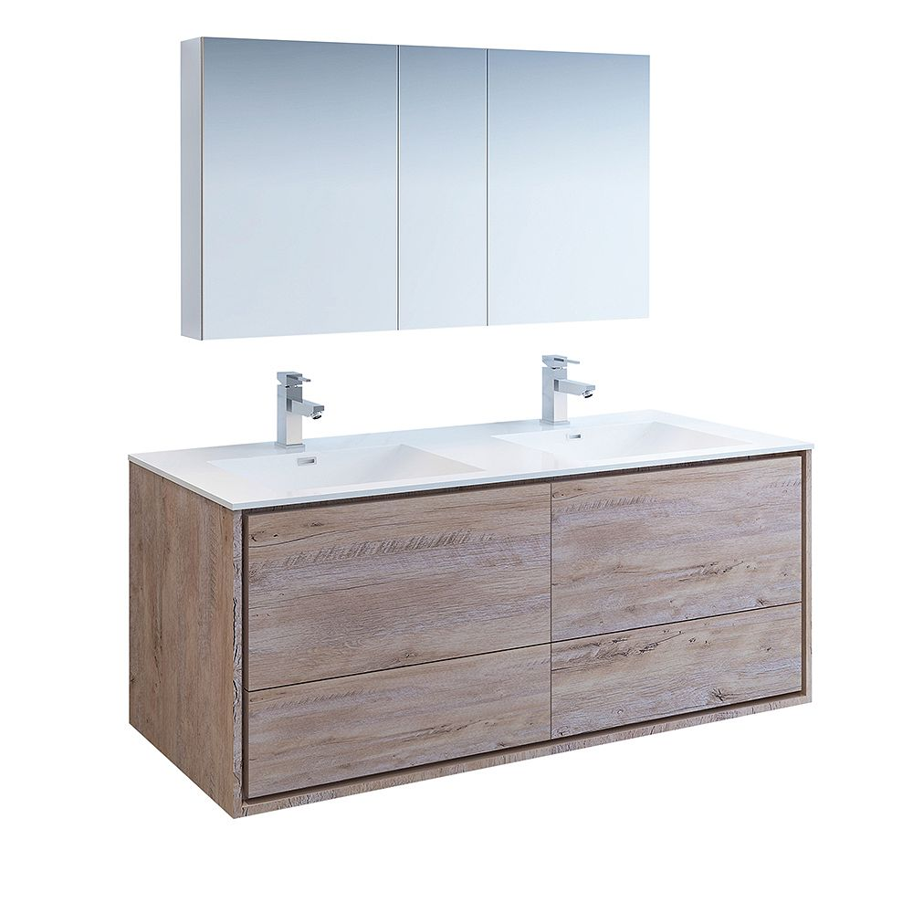 Fresca Catania 60 inch Rustic Natural Wood Wall Hung Double Sink Vanity with Acrylic Top, Medicine Cabinet