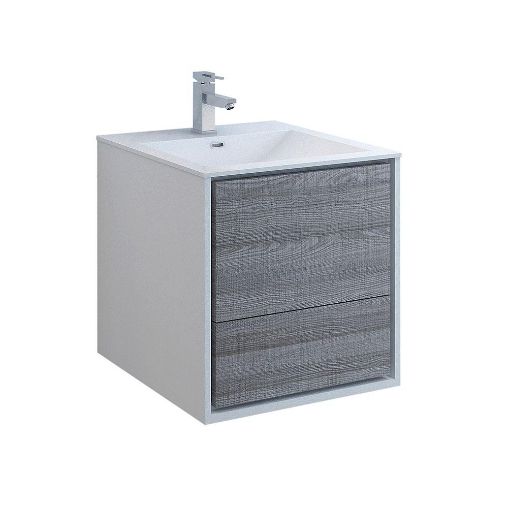 Fresca Catania 24 inch Glossy Ash Gray Wall Hung Modern Bathroom Vanity with Acrylic Top