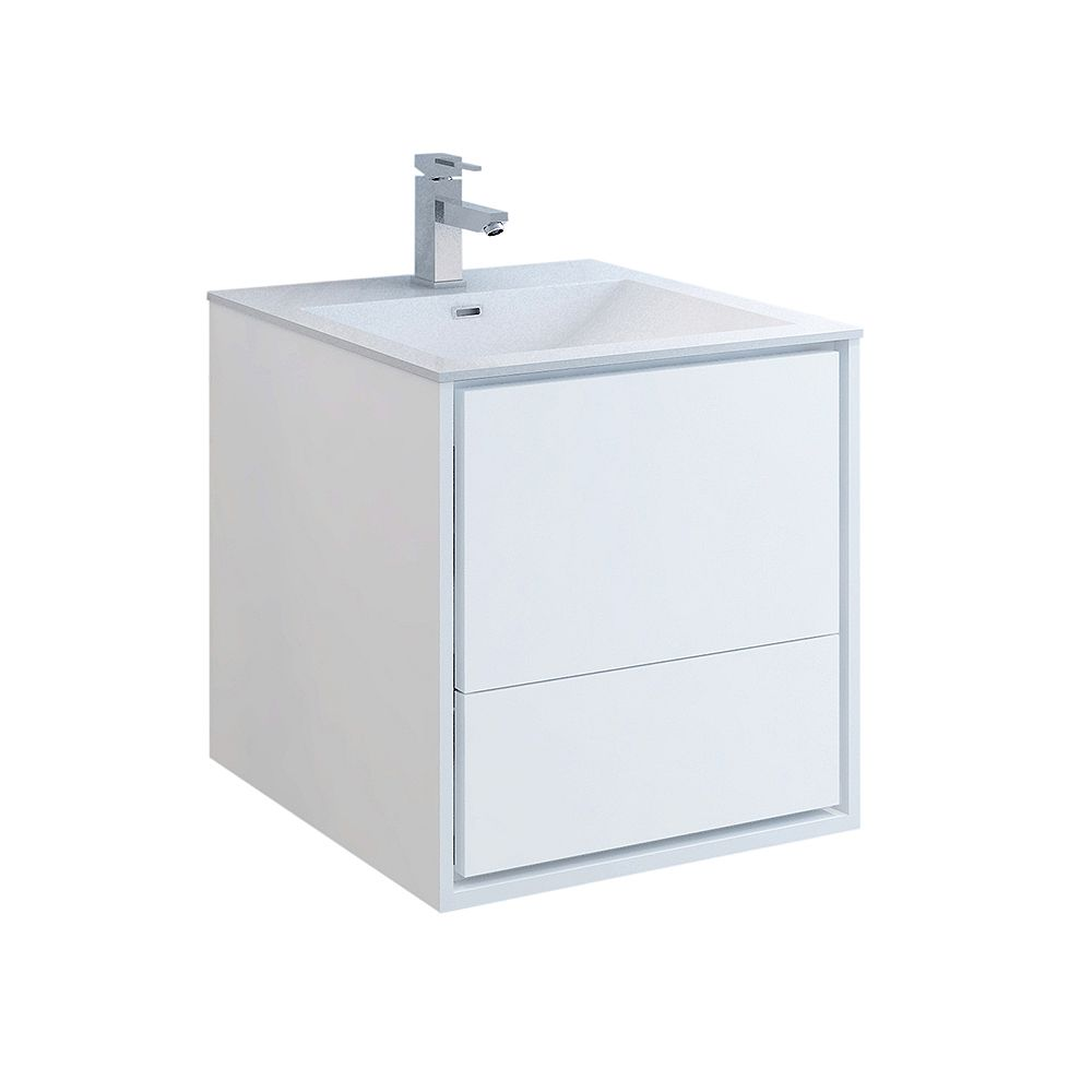 Fresca Catania 24 inch Glossy White Wall Hung Modern Bathroom Vanity with Acrylic Top