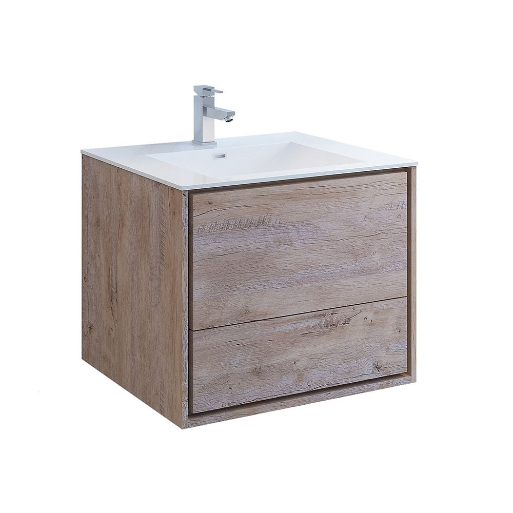 Fresca Catania 30 inch Rustic Natural Wood Wall Hung Modern Bathroom Vanity with Acrylic Top