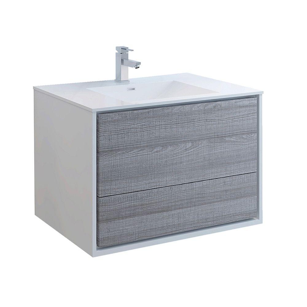 Fresca Catania 36 inch Glossy Ash Gray Wall Hung Modern Bathroom Vanity with Acrylic Top