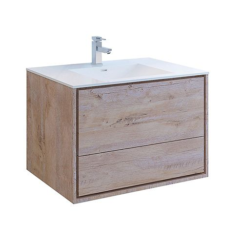 Catania 36 inch Rustic Natural Wood Wall Hung Modern Bathroom Vanity with Acrylic Top