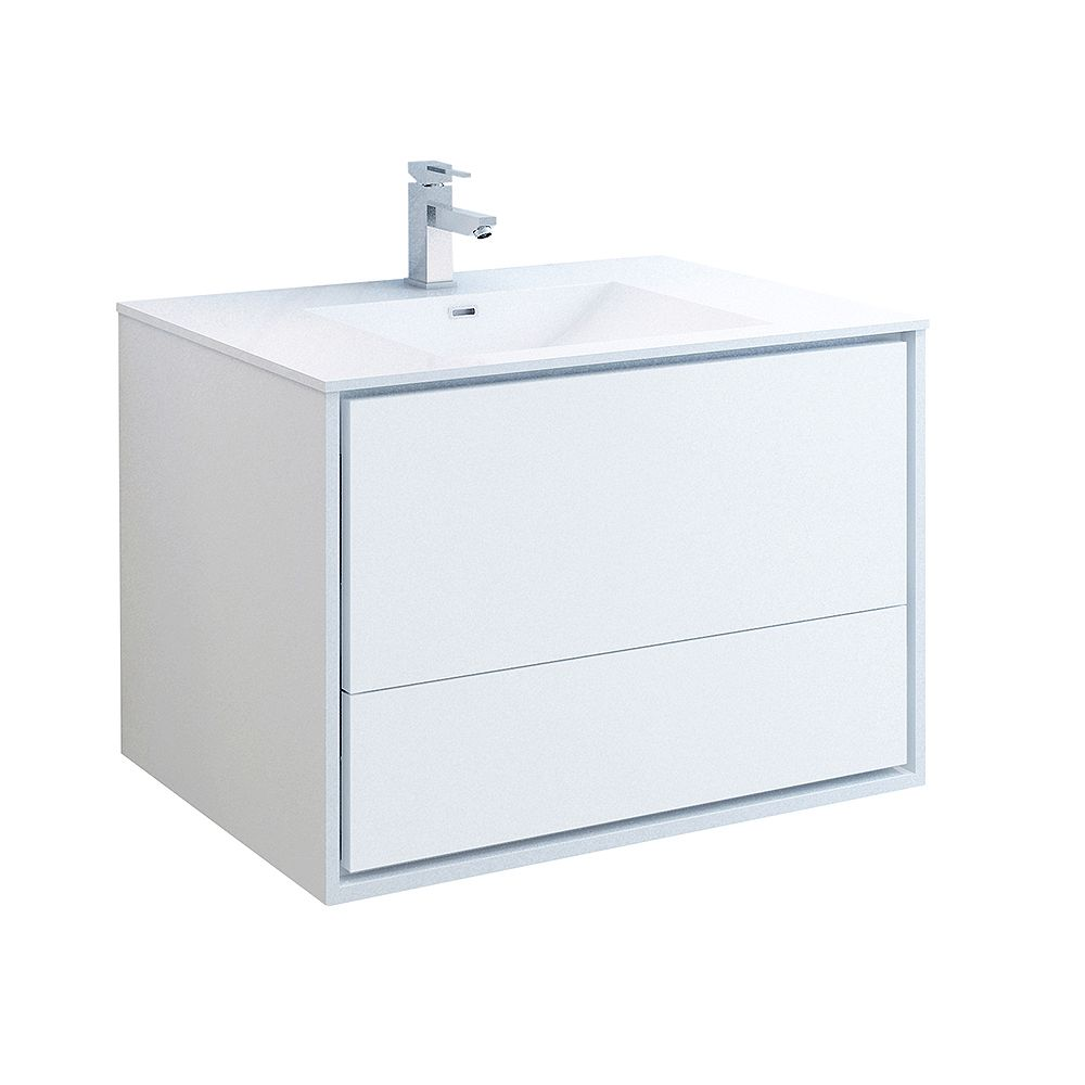 Fresca Catania 36 inch Glossy White Wall Hung Modern Bathroom Vanity with Acrylic Top