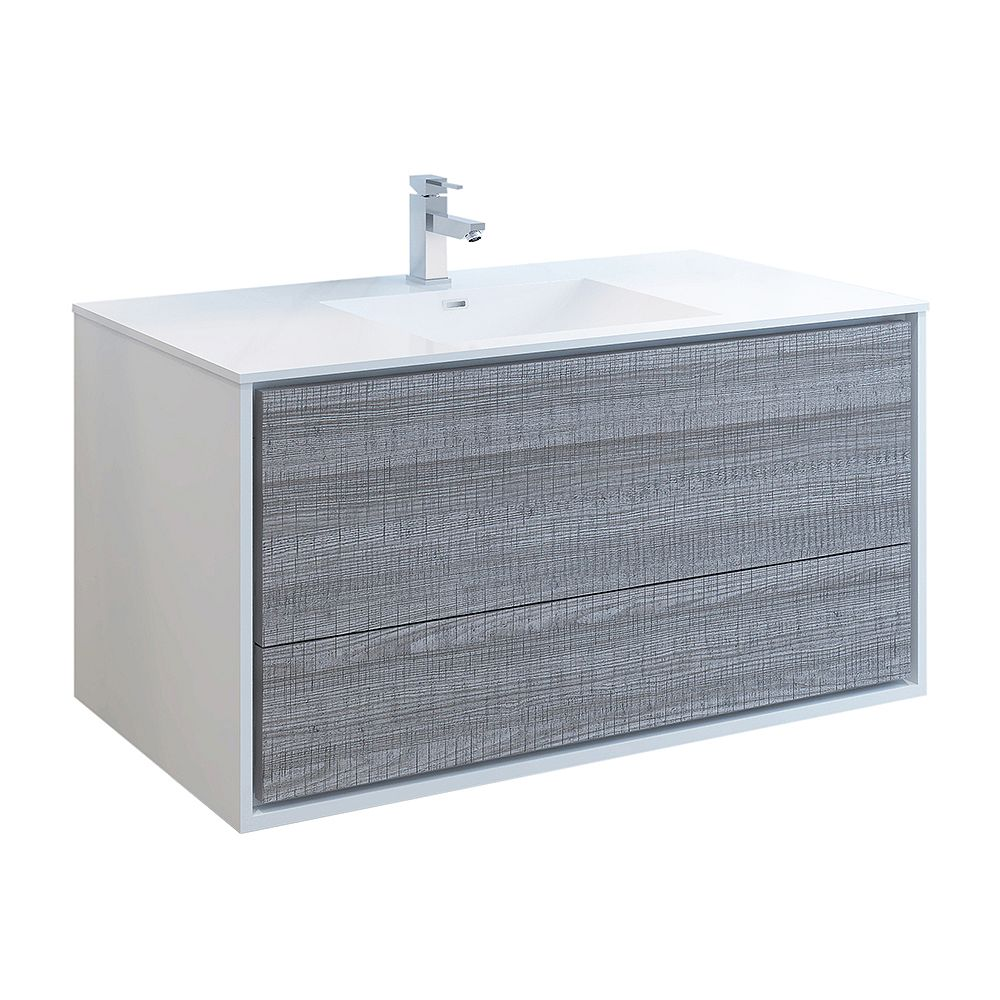Fresca Catania 48 inch Glossy Ash Gray Wall Hung Modern Bathroom Vanity with Acrylic Top