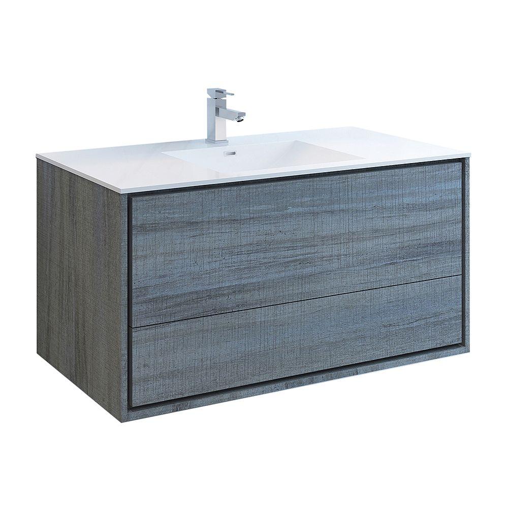 Fresca Catania 48 inch Ocean Gray Wall Hung Modern Bathroom Vanity with Acrylic Top