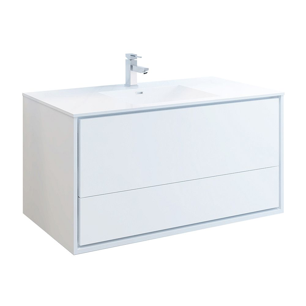 Fresca Catania 48 inch Glossy White Wall Hung Modern Bathroom Vanity with Acrylic Top