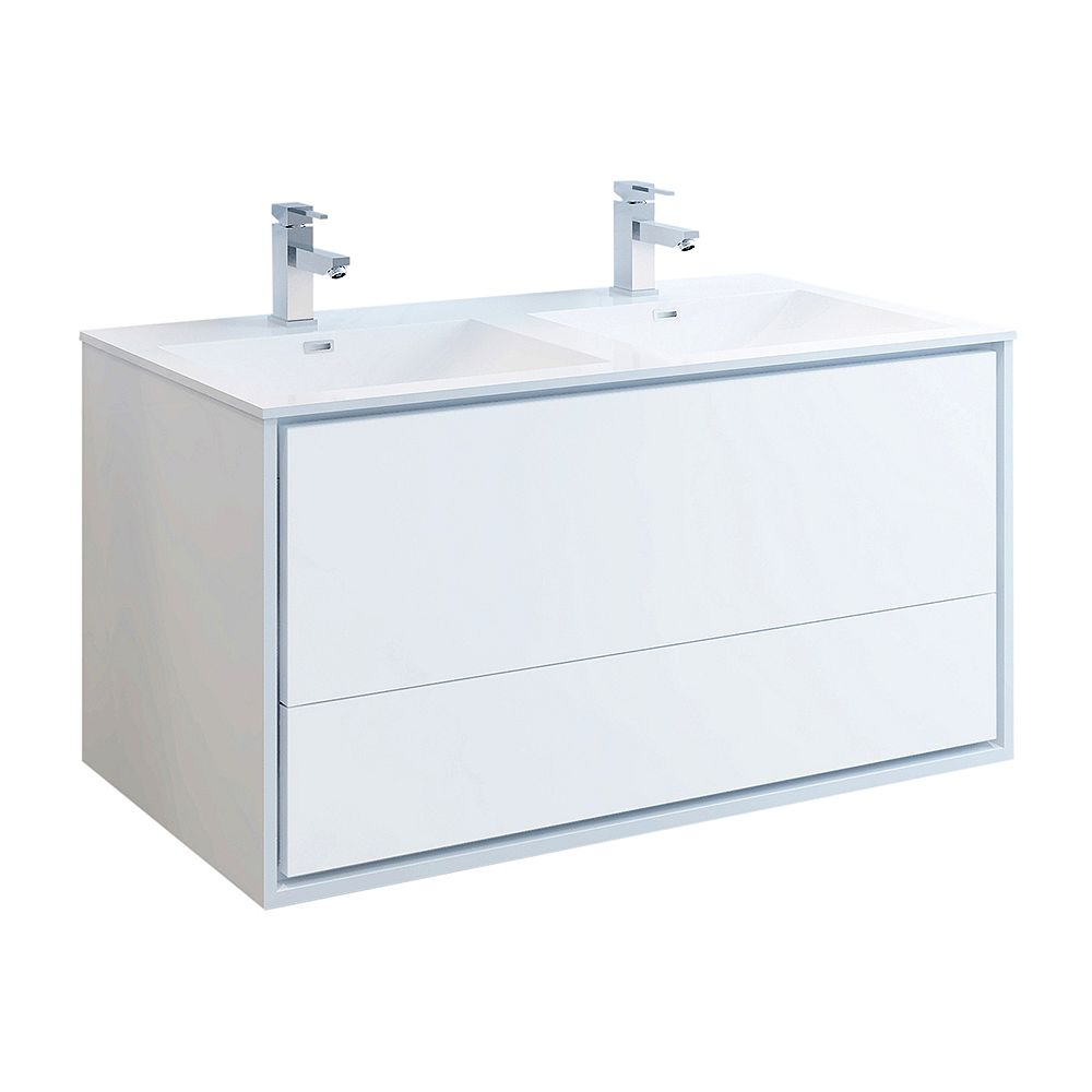 Fresca Catania 48 inch Glossy White Wall Hung Double Sink Modern Bathroom Vanity with Acrylic Top