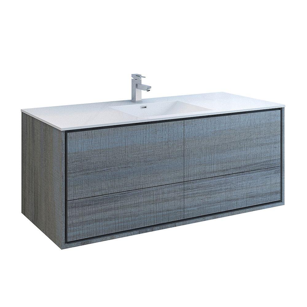 Fresca Catania 60 inch Ocean Gray Wall Hung Modern Bathroom Vanity with Acrylic Top