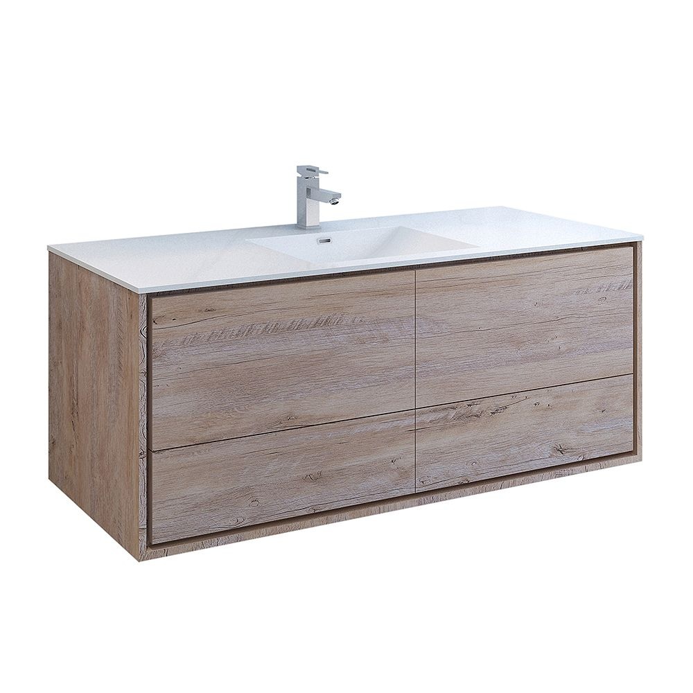 Fresca Catania 60 inch Rustic Natural Wood Wall Hung Modern Bathroom Vanity with Acrylic Top