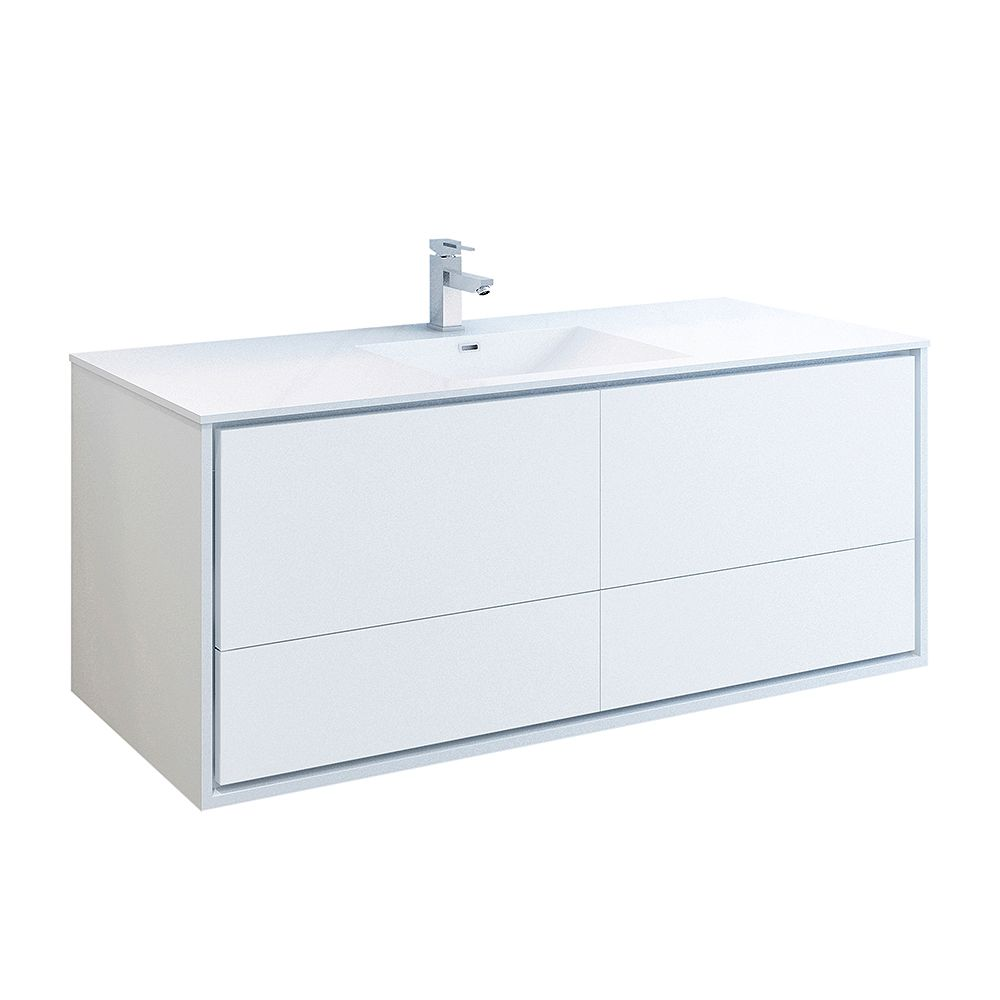 Fresca Catania 60 inch Glossy White Wall Hung Modern Bathroom Vanity with Acrylic Top