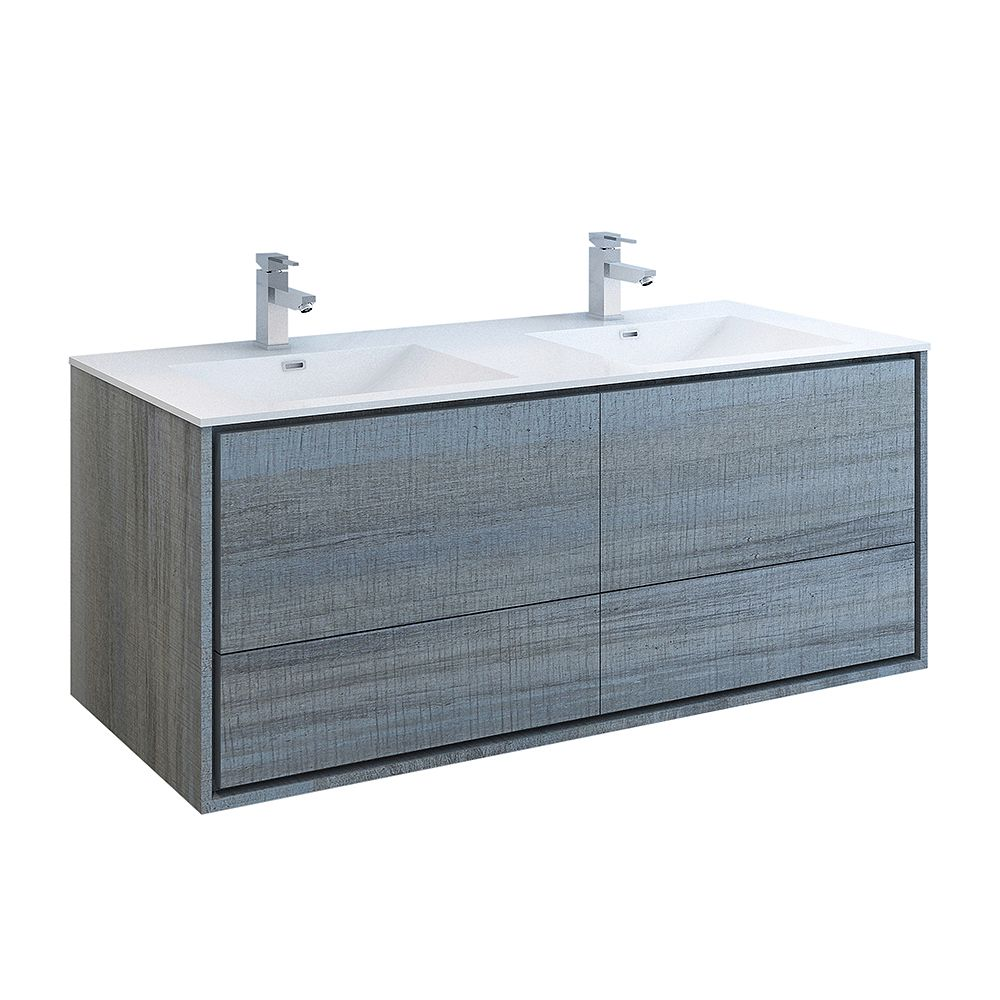 Fresca Catania 60 inch Ocean Gray Wall Hung Double Sink Modern Bathroom Vanity with Acrylic Top