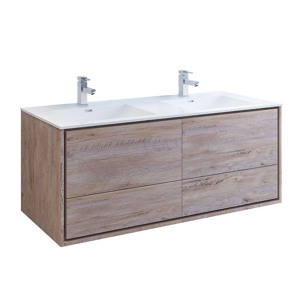 Fresca Catania 60 inch Rustic Natural Wood Wall Hung Double Sink Modern Bathroom Vanity with Acrylic Top