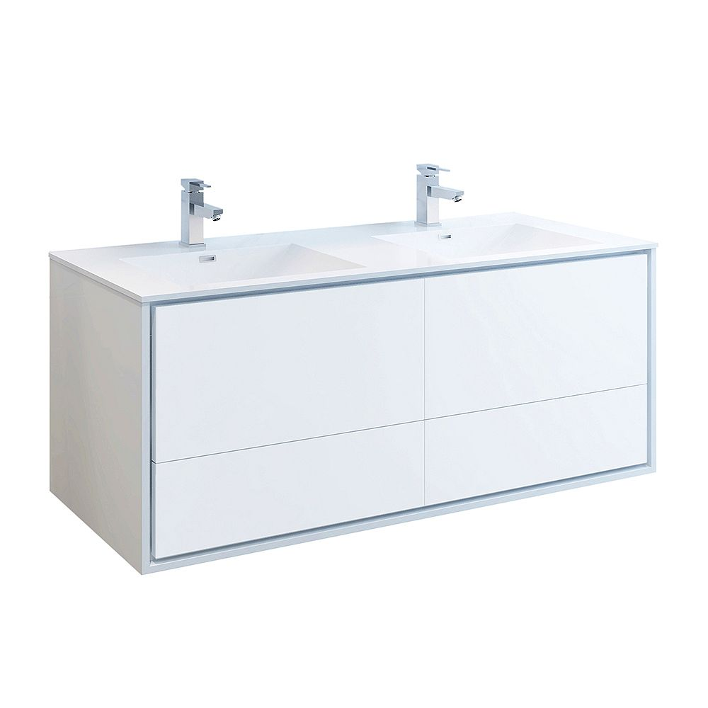 Fresca Catania 60 inch Glossy White Wall Hung Double Sink Modern Bathroom Vanity with Acrylic Top
