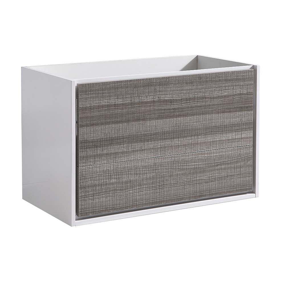 Fresca Catania 36 inch Glossy Ash Gray Wall Hung Modern Bathroom Vanity Only