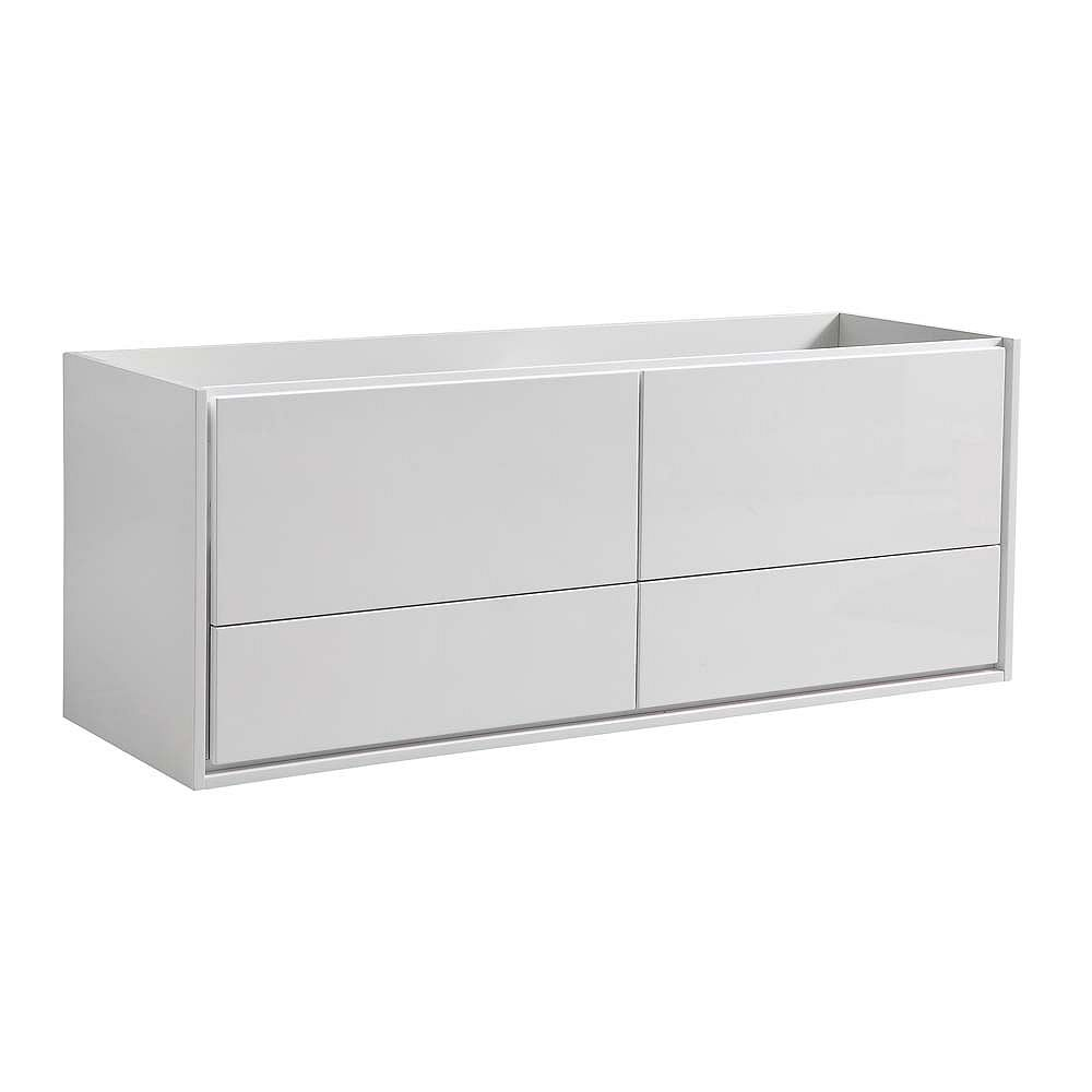 Fresca Catania 59 inch Glossy White Wall Hung Modern Bathroom Vanity Only