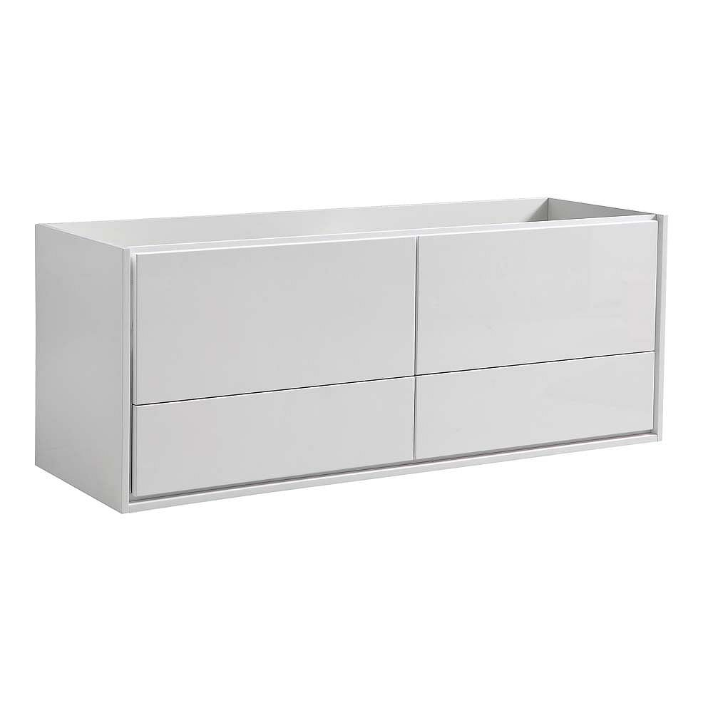 Fresca Catania 59 inch Glossy White Wall Hung Double Sink Modern Bathroom Vanity Only